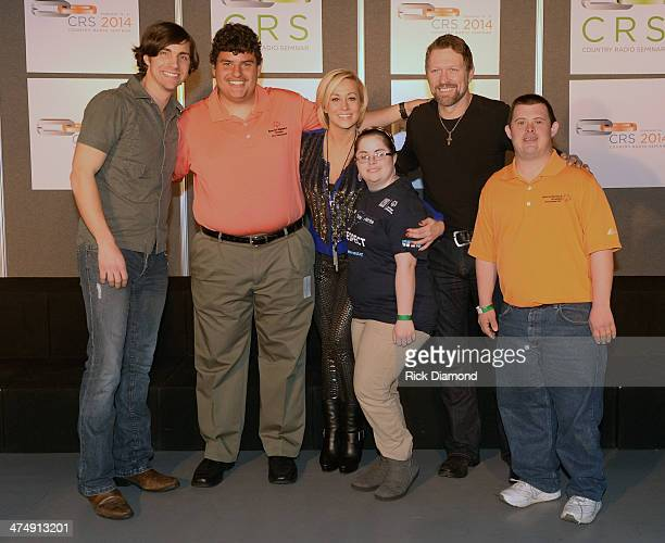 Singers/Songwriters John King Kellie Pickler and Craig Morgan are joined by Athletes from the Special Olympics backstage at the Black River...