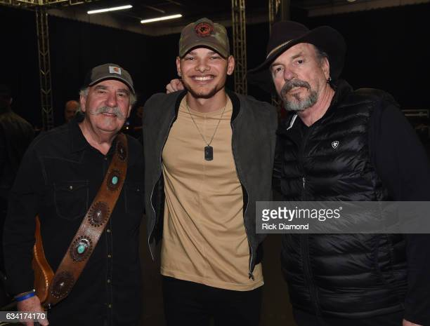 Singers/Songwriters Kane Brown with Homer Howard Bellamy and David Milton Bellamy of The Bellamy Brothers attend rehearsais for 1 Night 1 Place 1...