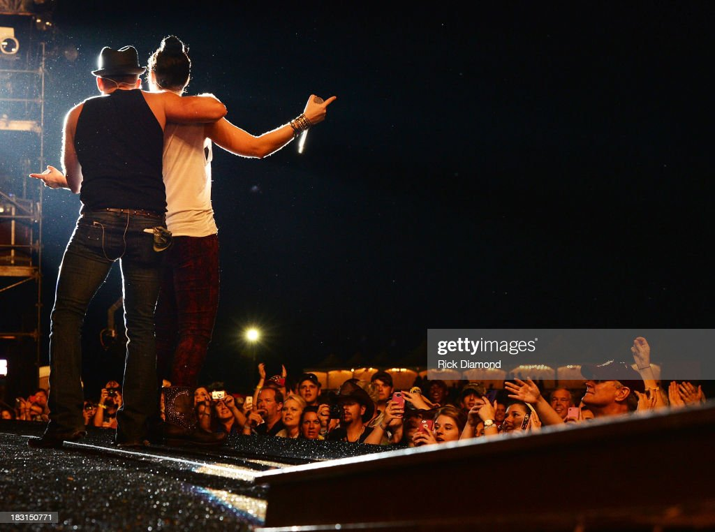 Singers/Songwriters Keifer Thompson and Shawna Thompson of Thompson Square perform during the First Annual Delta Country Jam Day 1 on October 4 2013...