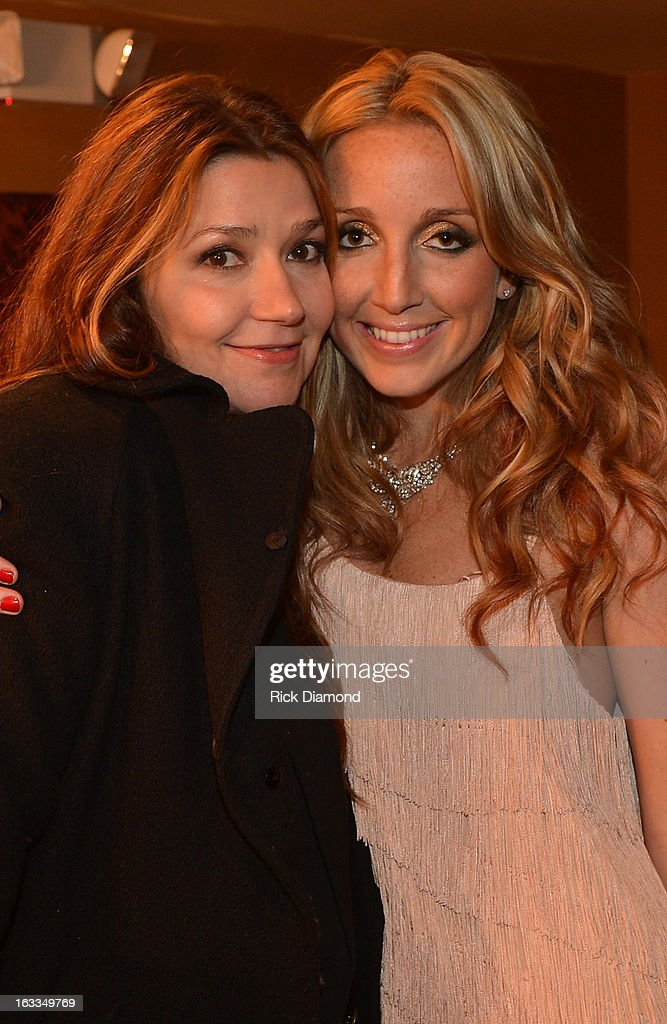 Singers/Songwriters Matraca Berg and Ashley Monroe backstage during the Ashley Monroe Album Release Party for ' Like a Rose' at 3rd & Lindsley on March 7, 2013 in Nashville, Tennessee.