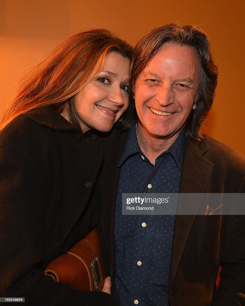 Singers/Songwriters Matraca Berg andJeff Hanna - Nitty Gritty Dirt Band backstage during the Ashley Monroe Album Release Party for ' Like a Rose' at 3rd & Lindsley on March 7, 2013 in Nashville, Tennessee.