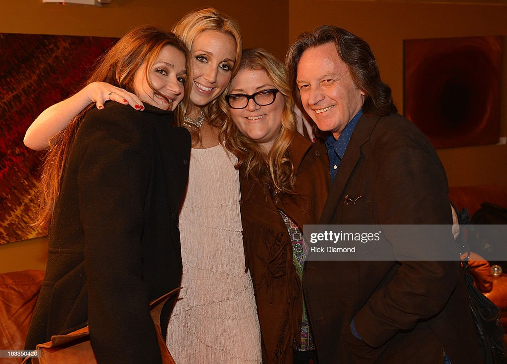 Singers/Songwriters Matraca Berg, Ashley Monroe, Kate York and Jeff Hanns - Nitty Gritty Dirt Band backstage during the Ashley Monroe Album Release Party for ' Like a Rose' at 3rd & Lindsley on March 7, 2013 in Nashville, Tennessee.