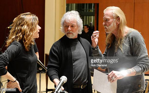 Singers/Songwriters Michelle Malone Chuck Leavell and Gregg Allman during rehearsals for 'Celebrating Georgia With Chuck Leavell Friends' at Atlanta...