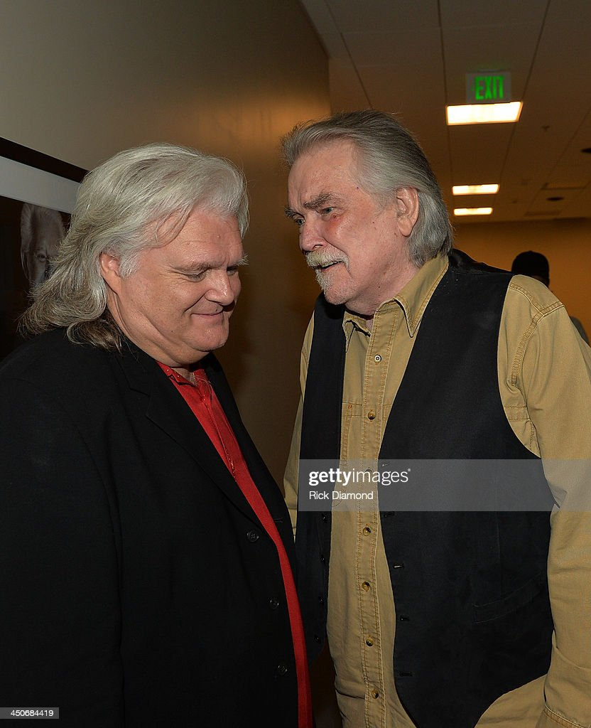 Singers/Songwriters Ricky Skaggs and Guy Clark backstage after Ricky Skaggs Day 2 - Bluegrass Rules at the CMA Theater on November 19, 2013 in Nashville, Tennessee. Skaggs was recently announced as the Country Music Hall of Fame and Museum's 2013 Artist-in-Residence.