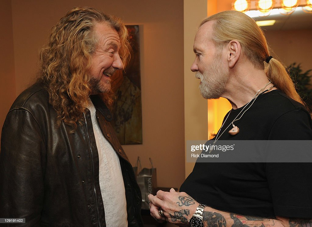 Singers/Songwriters Robert Plant and Gregg Allman backstage at the 10th Americana Music Association honors and awards at the Ryman Auditorium on...