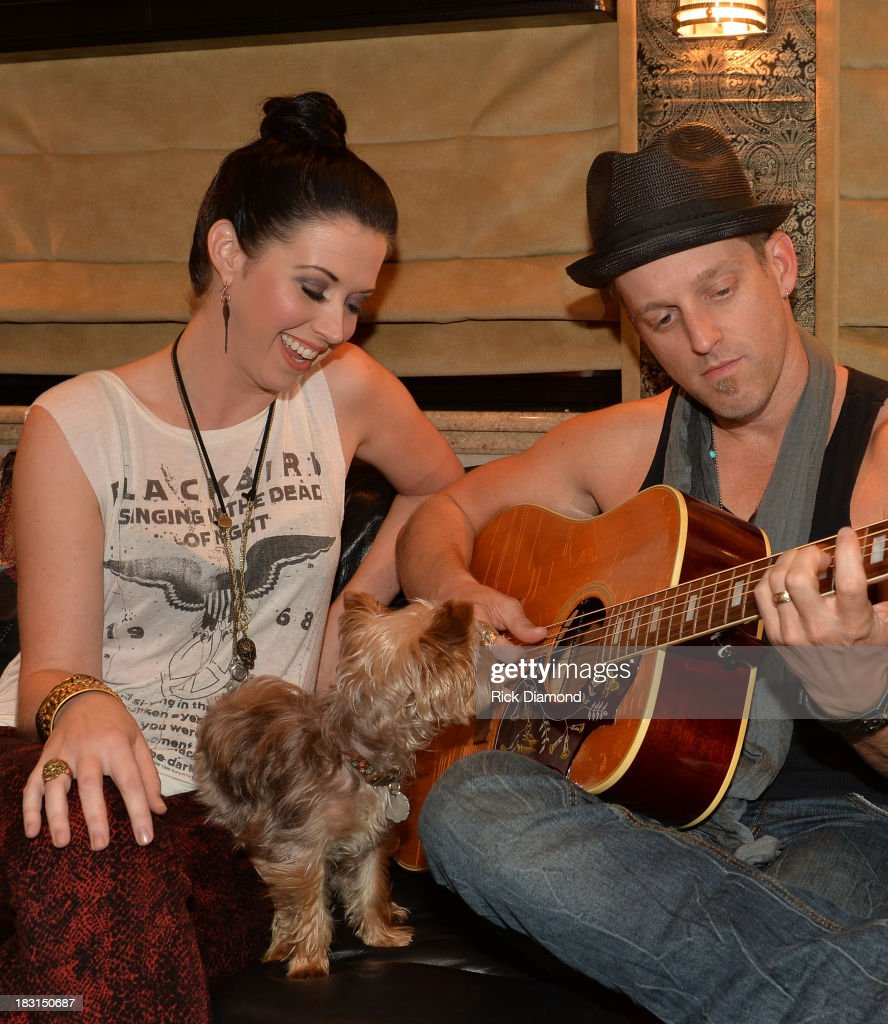 Singers/Songwriters Shawna Thompson and Keifer Thompson of Thompson Square backstage during the First Annual Delta Country Jam Day 1 on October 4...