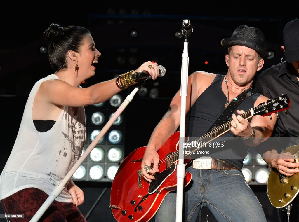 Singers/Songwriters Shawna Thompson and Keifer Thompson of Thompson Square perform during the First Annual Delta Country Jam Day 1 on October 4 2013...