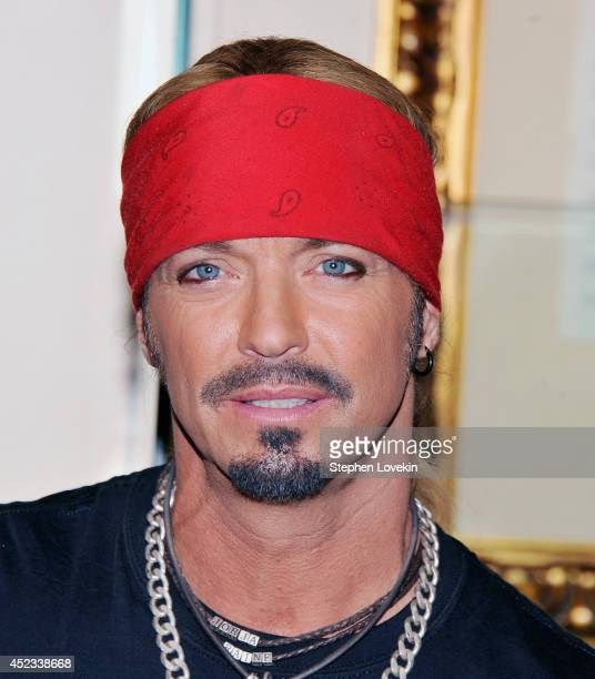 Singer/TV personality Bret Michaels poses for a photo after donating a guitar to Hard Rock Cafe at Hard Rock Cafe New York on July 18 2014 in New...