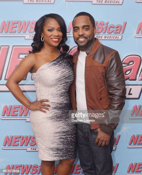 Singer/TV personality Kandi Burress and Todd Tucker attend 'NEWSical The Musical' at Kirk Theatre on January 13 2014 in New York City