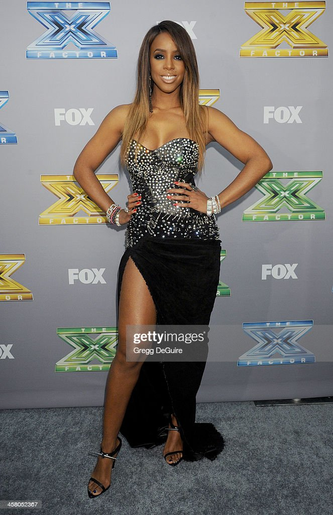 Singer/TV personality <a gi-track='captionPersonalityLinkClicked' href=/galleries/search?phrase=Kelly+Rowland&family=editorial&specificpeople=201760 ng-click='$event.stopPropagation()'>Kelly Rowland</a> attends FOX's 'The X Factor' season finale at CBS Television City on December 19, 2013 in Los Angeles, California.