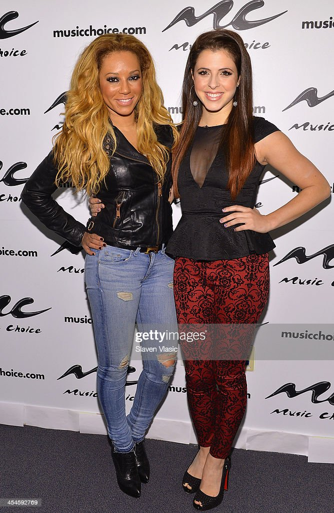 Singer/TV personality Mel B (L) and ''You & A'' host Clare Galterio visit Music Choice's 'You & A' at Music Choice on December 9, 2013 in New York City.