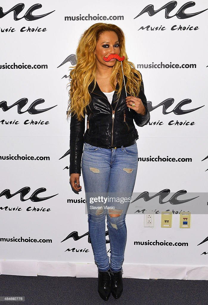 Singer/TV personality Mel B visits Music Choice's 'You & A' at Music Choice on December 9, 2013 in New York City.