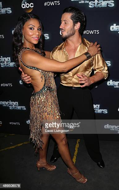 Singer/TV personality Tamar Braxton and dancer/TV personality Valentin Chmerkovskiy attend 'Dancing with the Stars' Season 21 at CBS Television City...
