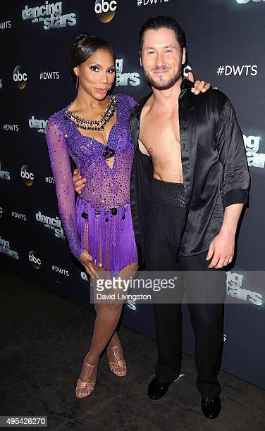 Singer/TV personality Tamar Braxton and dancer/TV personality Valentin Chmerkovskiy attend 'Dancing with the Stars' Season 21 at CBS Televison City...