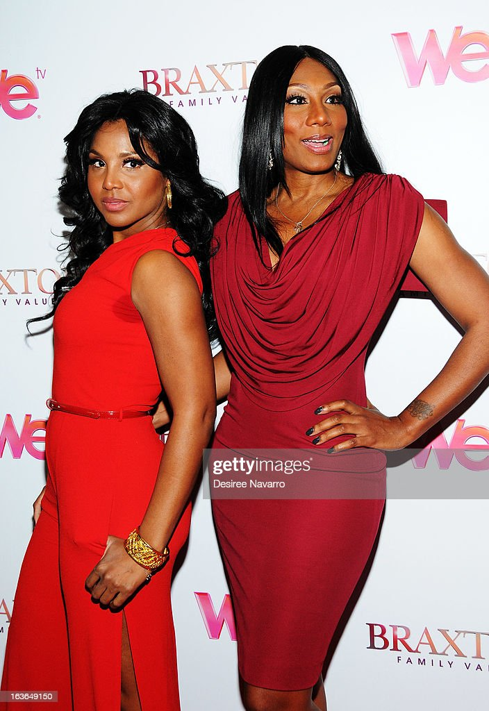 Singer/TV Personality <a gi-track='captionPersonalityLinkClicked' href=/galleries/search?phrase=Toni+Braxton&family=editorial&specificpeople=213737 ng-click='$event.stopPropagation()'>Toni Braxton</a> and Towanda Braxton attend the 'Braxton Family Values' Season Three premiere party at STK Rooftop on March 13, 2013 in New York City.