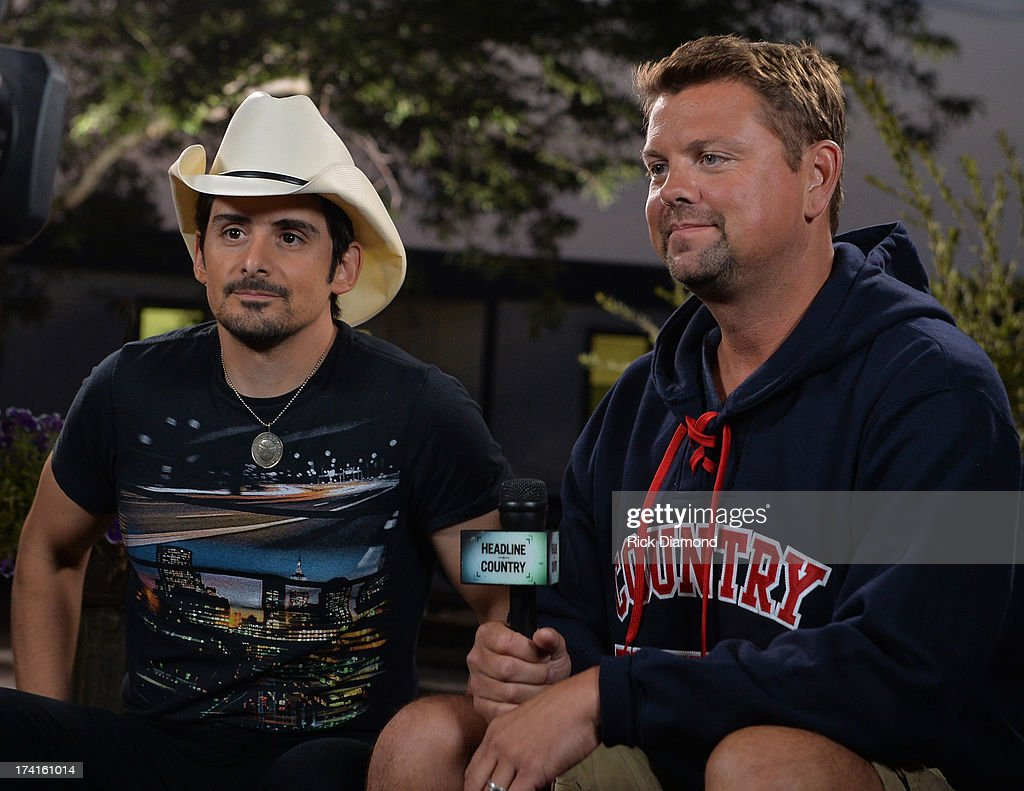 Singe/Songwriter <a gi-track='captionPersonalityLinkClicked' href=/galleries/search?phrase=Brad+Paisley&family=editorial&specificpeople=206616 ng-click='$event.stopPropagation()'>Brad Paisley</a> visits Storme Warren at GAC Headline Country during Country Thunder - Twin Lakes, Wisconsin - Day 3 on July 20, 2013 in Twin Lakes, Wisconsin.