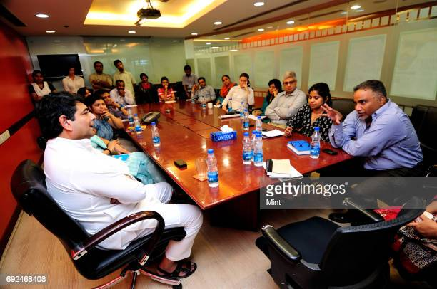 Singh Minister of State in the Ministry of Petroleum and Natural Gas of India and Ministry of Corporate Affairs photographed during a meeting with...