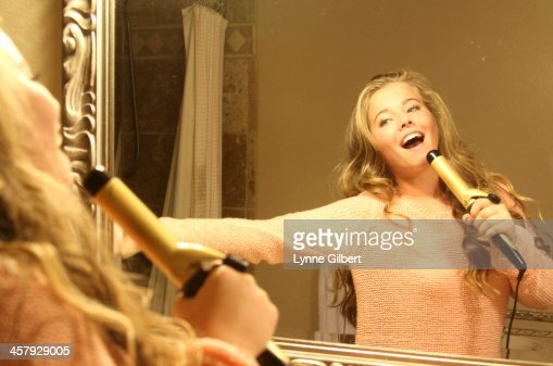 Singing A Songin The Bathroom Getting Ready Stock Photo