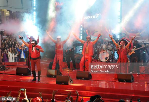 Singing group Village People perform onstage at the Westfield Century City Reopening Celebration on October 3 2017 in Century City California