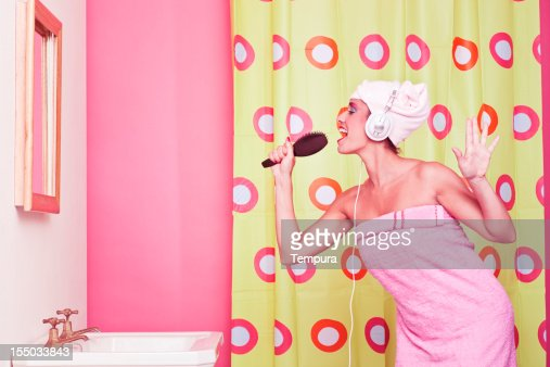 Singing In The Bathroom With A Hair Brush Humor Stock