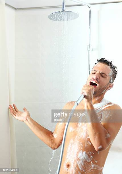 Singing under shower.