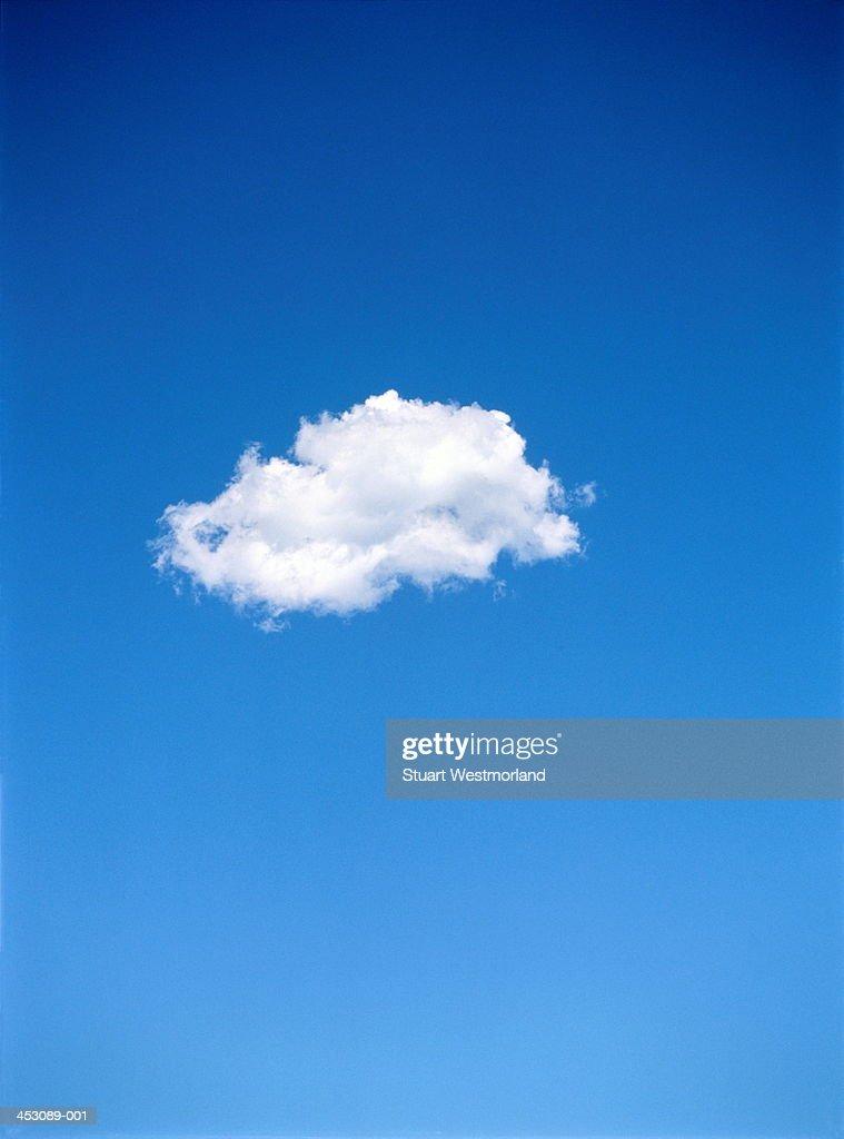 Single altocumulus cloud in blue sky