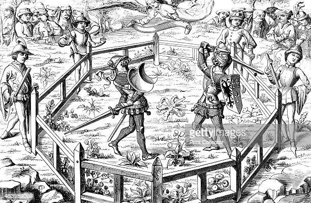 Single combat subjected to the judgement of God 15th century A 19th century version of an original 15th century manuscript illustration in Conquetes...