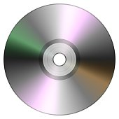 Single disc cd dvd isolated on white background. Compact disk 3D illustration