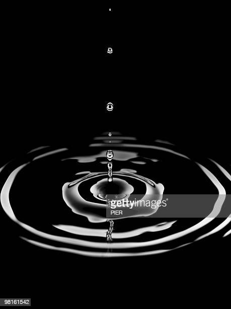 Single drop of water forming rings in pool