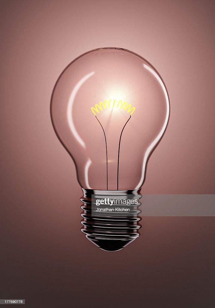 Single Glowing Light Bulb