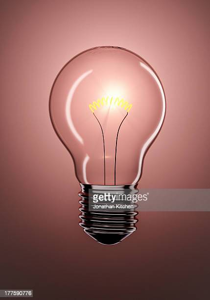 Single Glowing Light Bulb