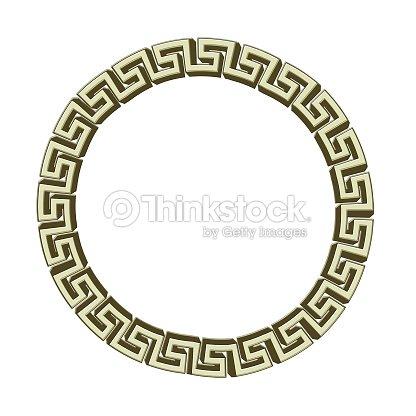 Single Greek Key Circle Gold Isolated On White Illustration Stock