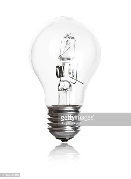Une seule ampoule avec vieux technic sur fond blanc