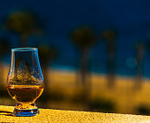 single malt whisky  in the glass, luxurious tasting glass, tasty set