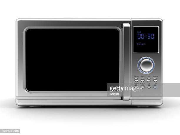 Single metallic gray microwave with black elements