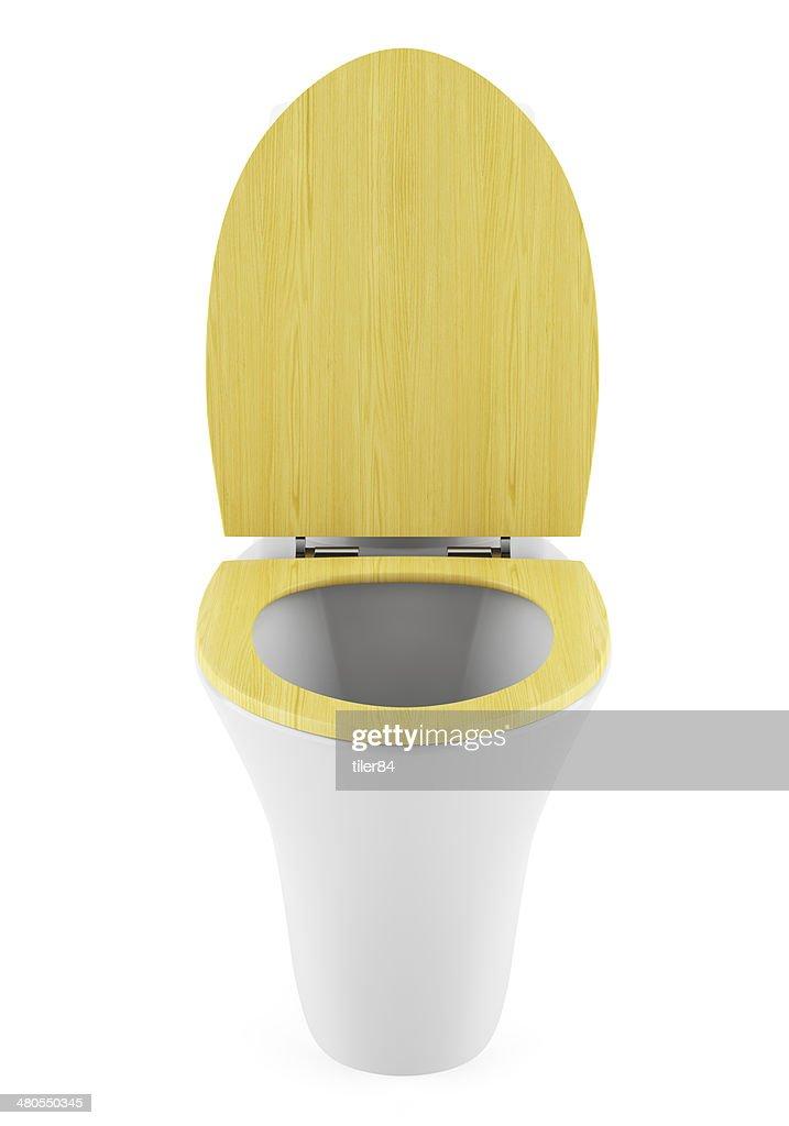 Banheiro moderno com uma Tigela de madeira isolado no branco tampa : Foto de stock