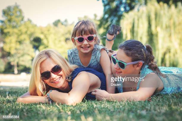 Single mother with two young daughters