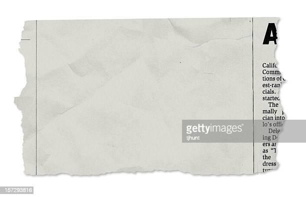 Eine Zeitung Träne auf Weiß