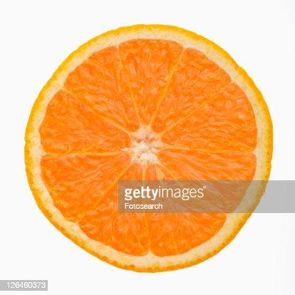 Single orange slice side view against white background.