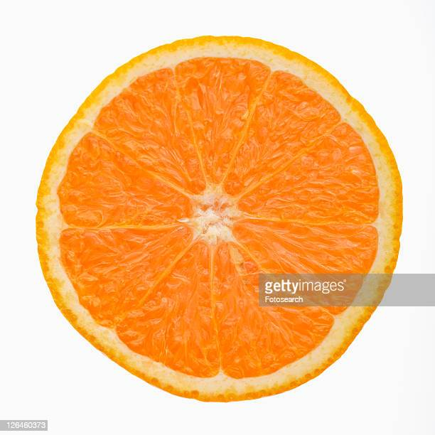 Single orange slice side view against white background.