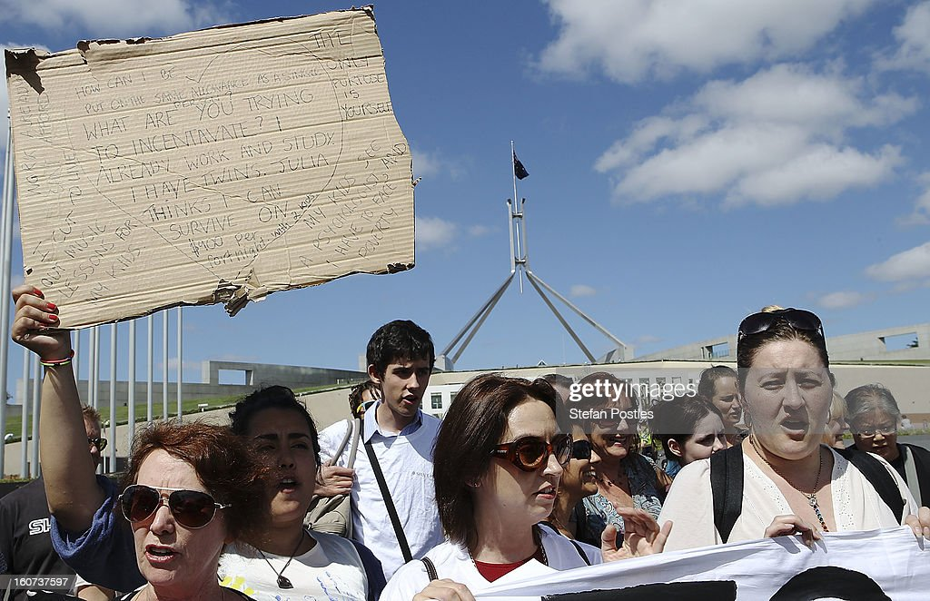 Single parent protesters gather outside Parliament House on February 5, 2013 in Canberra, Australia. Parliament resumes for the first sitting of 2013 today, just days after Prime Minister Gillard, announced a federal election date of September 14, 2013.