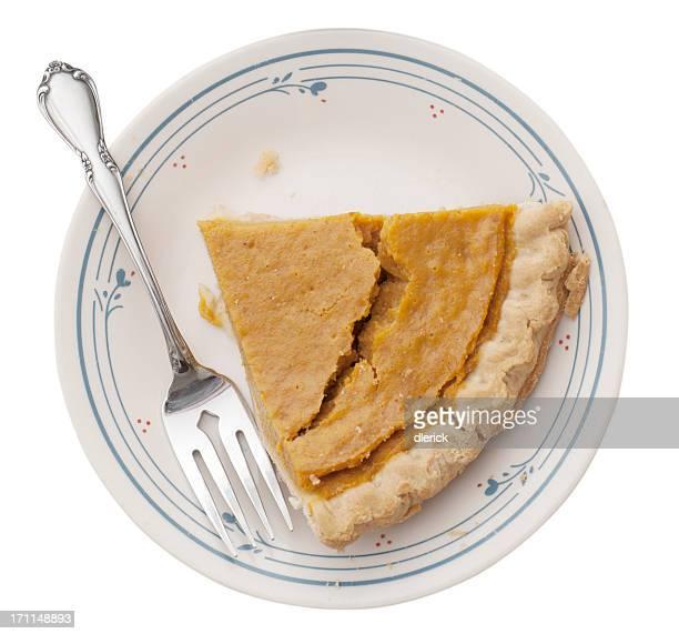Singolo pezzo di Torta di zucca e forchetta, isolato su piatto