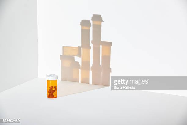Single Pill bottle with large shadow