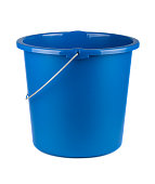 Single plastic blue bucket isolated on a white background