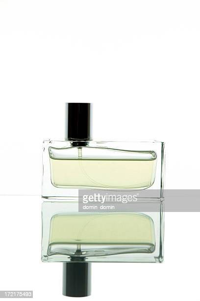 Single rectangular perfume bottle isolated on white, studio shot