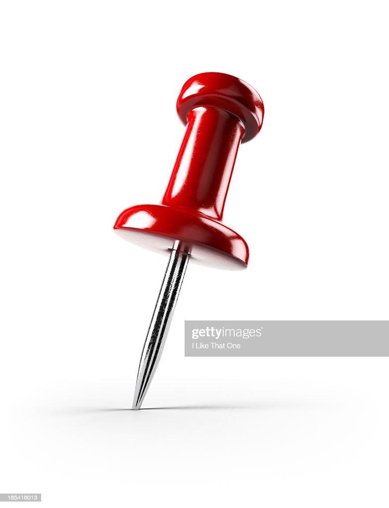 Single red pin / tack / map pin
