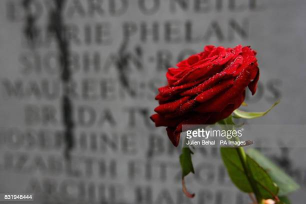 A single red rose is placed on the memorial on Talbot Street in Dublin to the victims of the Dublin and Monaghan bombings in 1974 on the 32nd...