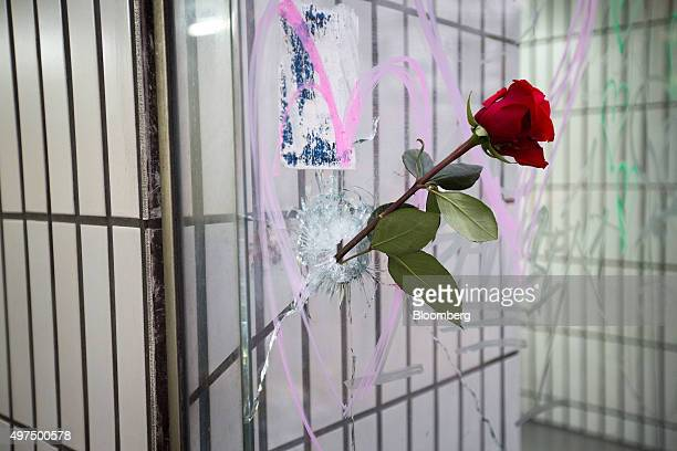 A single red rose sits in a hole caused by a bullet on the window of the Lavatronic laundrette in Paris France on Monday Nov 16 2015 Monday marked...