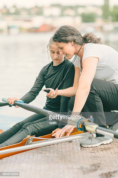 Single Scull Rowing Training.