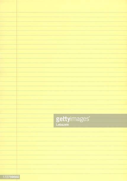 Single sheet of yellow business lined paper
